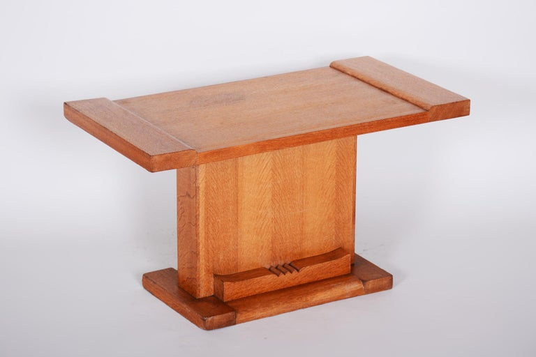Wood Completely Restored Small Art Deco Oak Table, France, 1920s For Sale