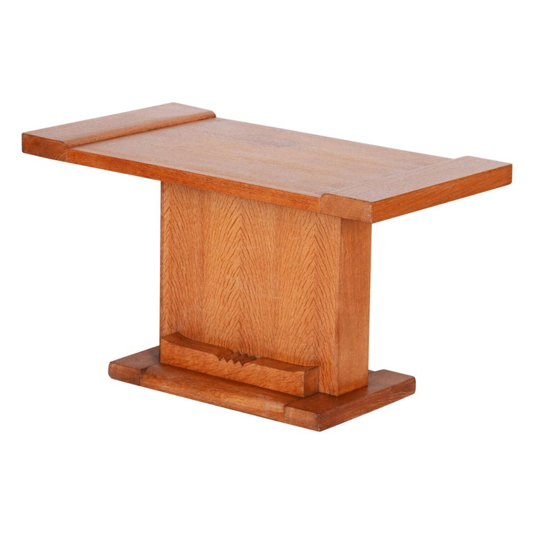 Completely Restored Small Art Deco Oak Table, France, 1920s For Sale