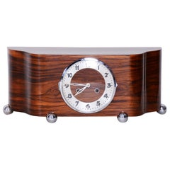Completely Restored Unique Art Deco Walnut Table Clock, High Gloss, 1930s