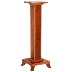 Completely Restored Unique Brown Czech Art Deco Walnut Pedestal, 1930s