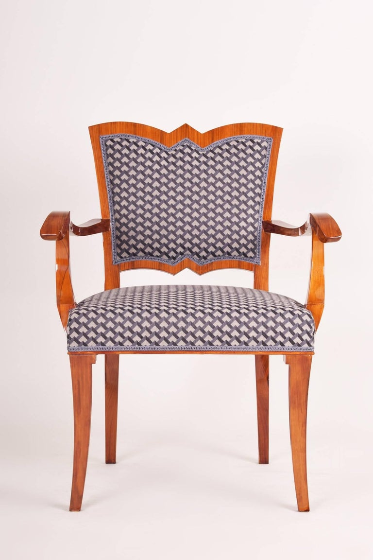 Czech Completely Restored Walnut Art Deco Armchair, New Upholstery, Shellac Polish For Sale