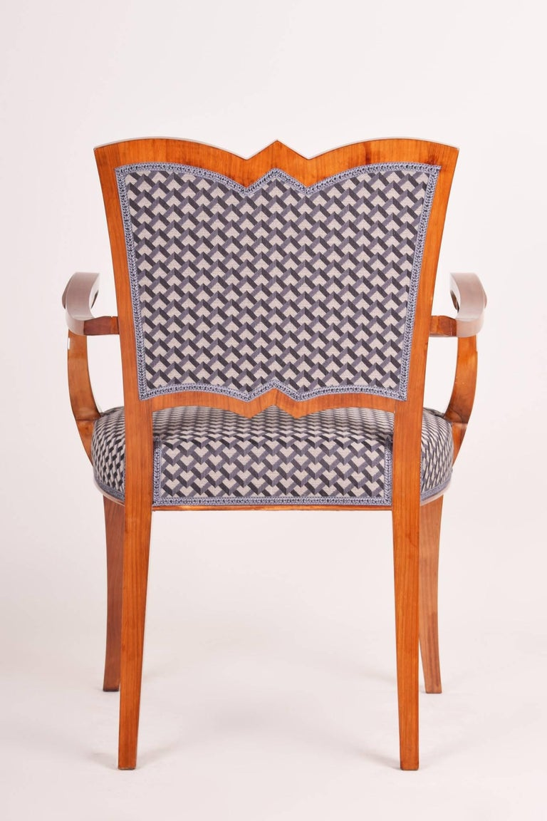 Early 20th Century Completely Restored Walnut Art Deco Armchair, New Upholstery, Shellac Polish For Sale