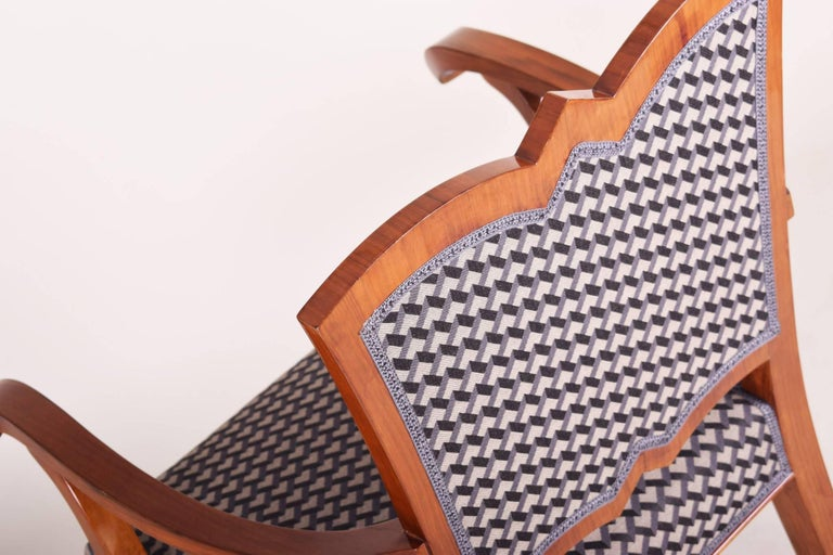 Fabric Completely Restored Walnut Art Deco Armchair, New Upholstery, Shellac Polish For Sale