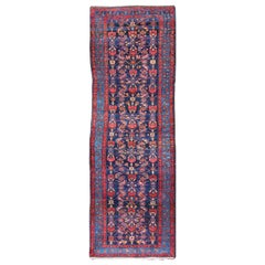Complex Geometric Design Hamedan Vintage Runner from Persia in Multi-Colors