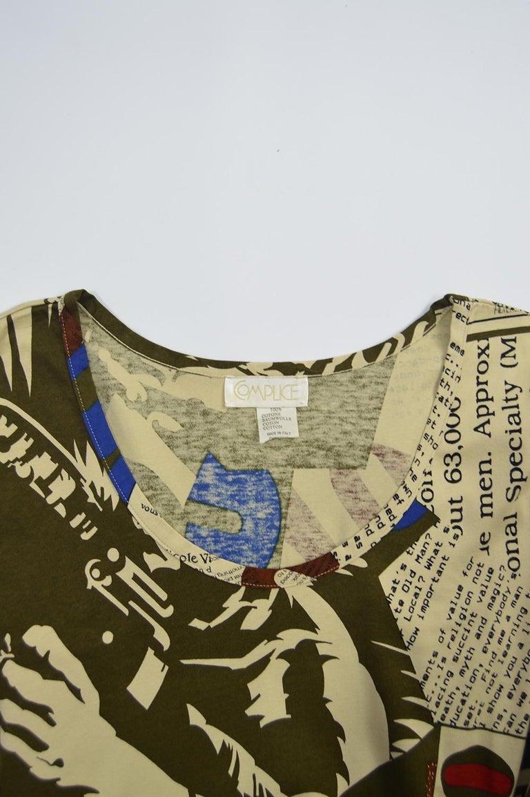 Complice Vintage Newspaper Print Kimono Sleeve Mini Dress, 1980s 6