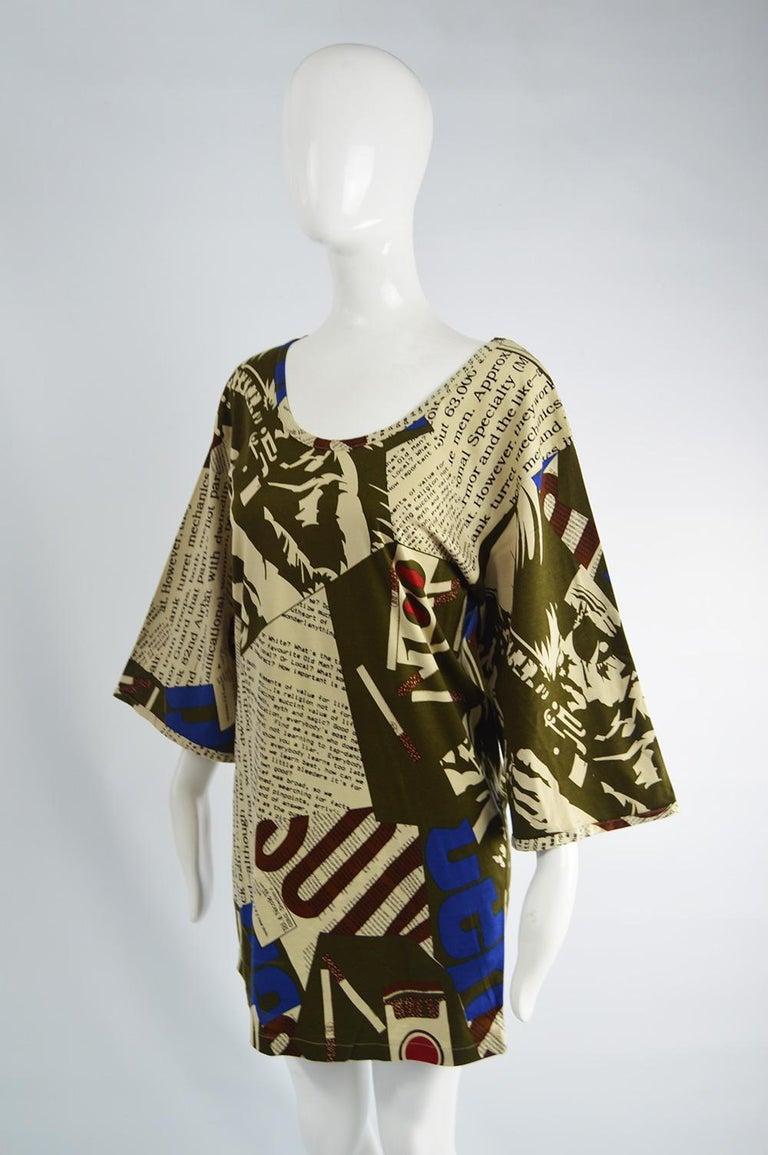 Black Complice Vintage Newspaper Print Kimono Sleeve Mini Dress, 1980s