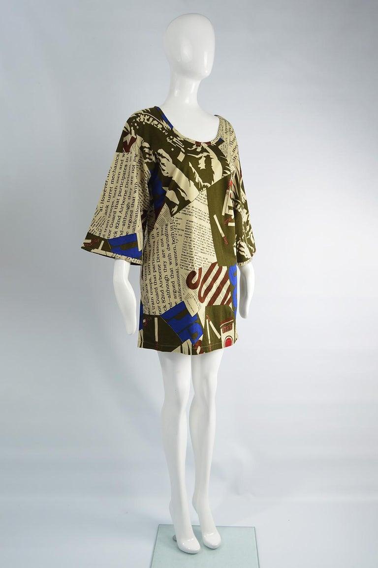 Women's Complice Vintage Newspaper Print Kimono Sleeve Mini Dress, 1980s