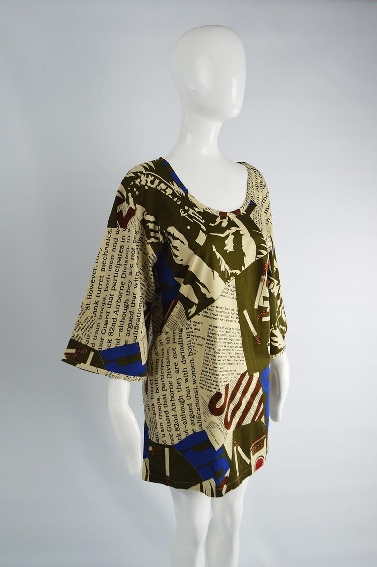 Complice Vintage Newspaper Print Kimono Sleeve Mini Dress, 1980s 1