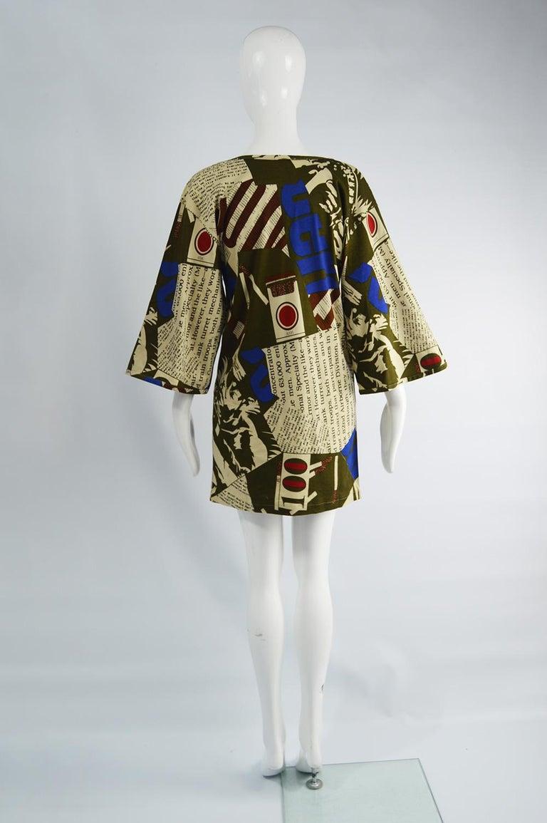 Complice Vintage Newspaper Print Kimono Sleeve Mini Dress, 1980s 3