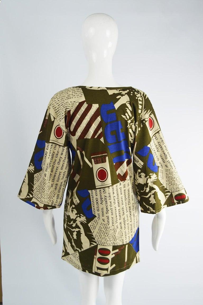 Complice Vintage Newspaper Print Kimono Sleeve Mini Dress, 1980s 4