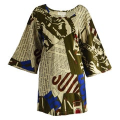 Complice Vintage Newspaper Print Kimono Sleeve Mini Dress, 1980s