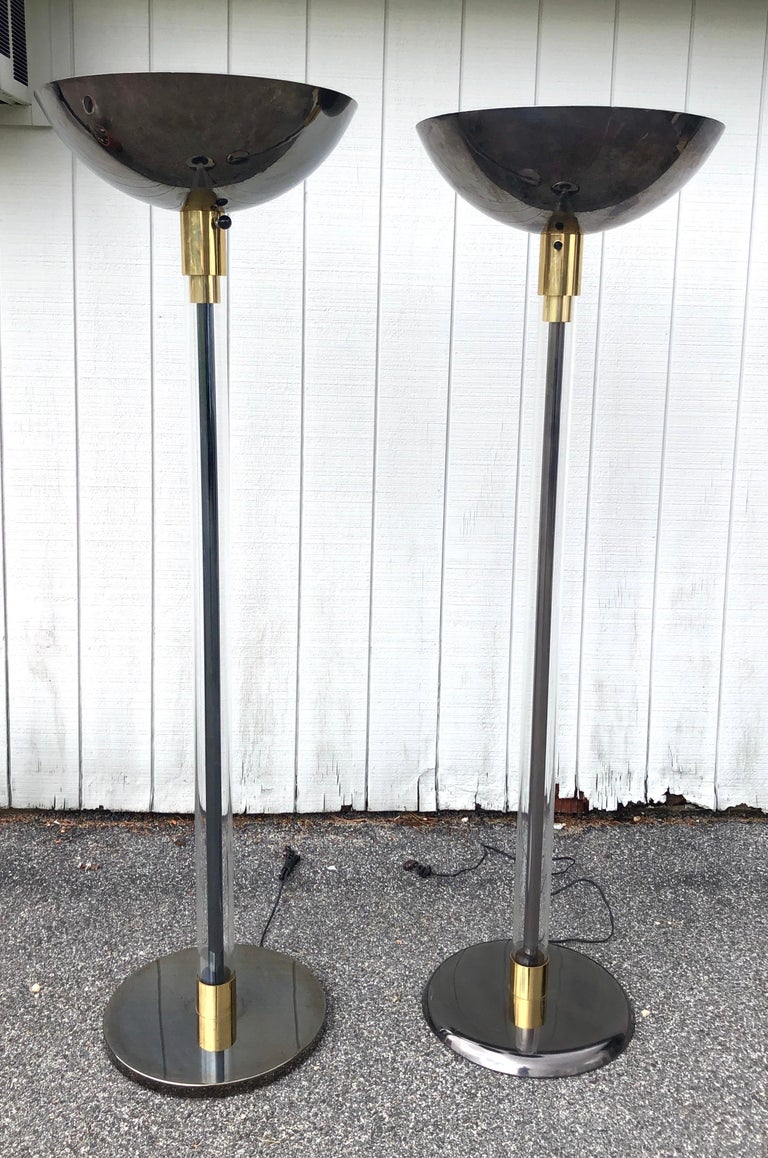 Complimentary Pair Karl Springer Lucite and Gun Metal Torchiere Floor Lamps For Sale 4