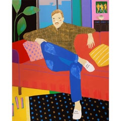 'Complimentary Slippers' Figurative Portrait Painting by Alan Fears Pop Art