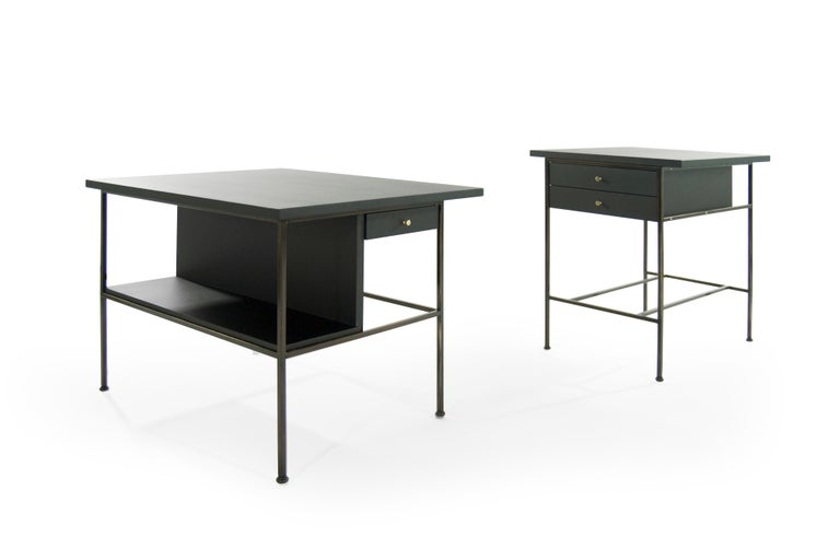 Mid-Century Modern Complimenting Set of Bronze End Tables by Paul McCobb For Sale