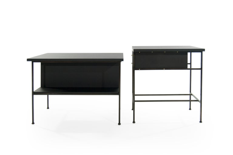 American Complimenting Set of Bronze End Tables by Paul McCobb For Sale