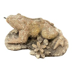 Composed Stone Frog Fountainhead, Garden or Yard Figure Vintage, German, 1970s