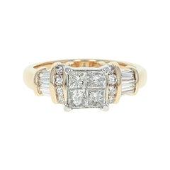Composite Diamond Engagement Ring, 14 Karat Yellow Gold Princess Cut 1.38 Carat