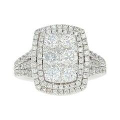 Composite Diamond Halo Ring, 14 Karat White Gold Round Cut 2.25 Carat
