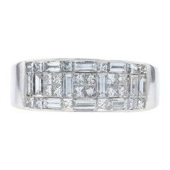 Composite Diamond Ring, 14 Karat White Gold Halo Princess 1.32 Carat