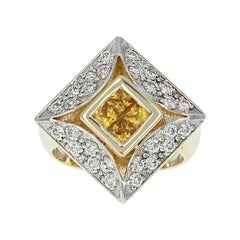 Composite Golden Yellow Sapphire and Diamond Halo Ring, 14 Karat Gold 1.45 Carat