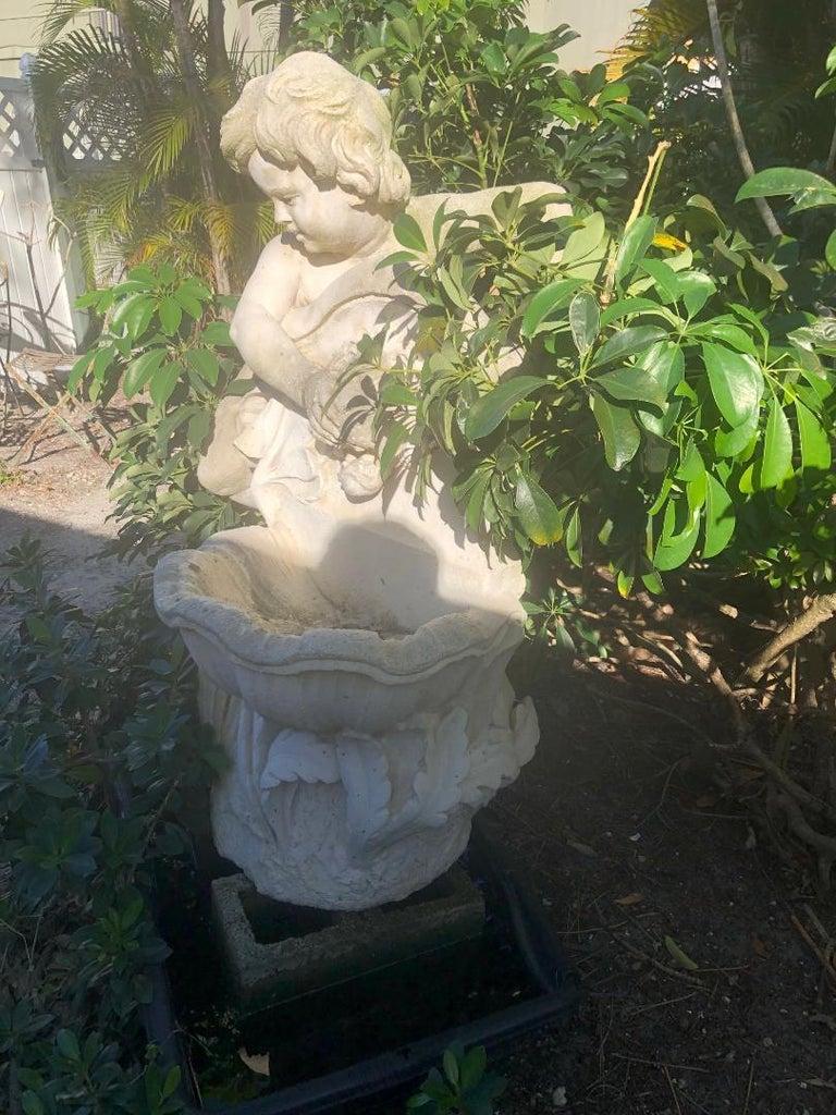 Composite Stone Cherub Fountain For Sale 1