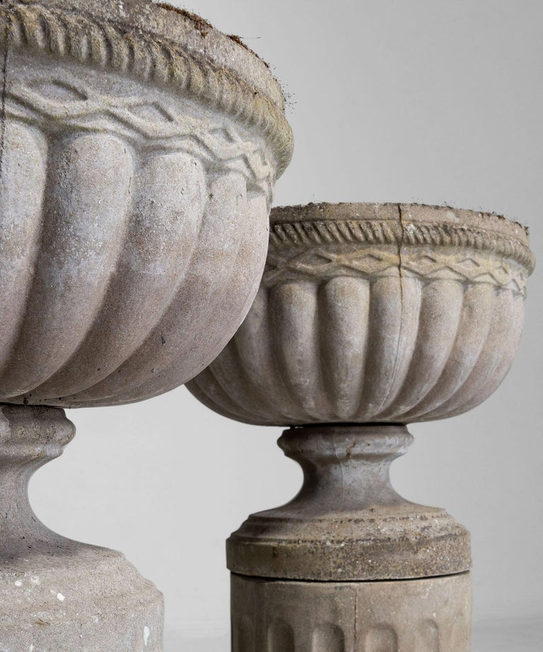 English Composite Stone Garden Urns For Sale