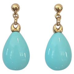 Composite Turquoise 18 Karat Yellow Gold Earrings