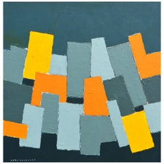 'Composition Gris et Jaune' Original Abstract Painting by Lars Hegelund