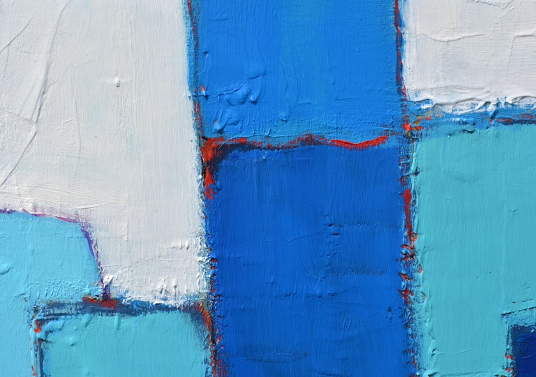 Modern 'Composition in Blue and Aqua' Original Abstract Painting by Lars Hegelund' For Sale