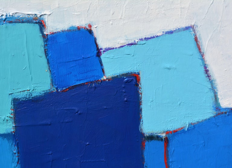 American 'Composition in Blue and Aqua' Original Abstract Painting by Lars Hegelund' For Sale
