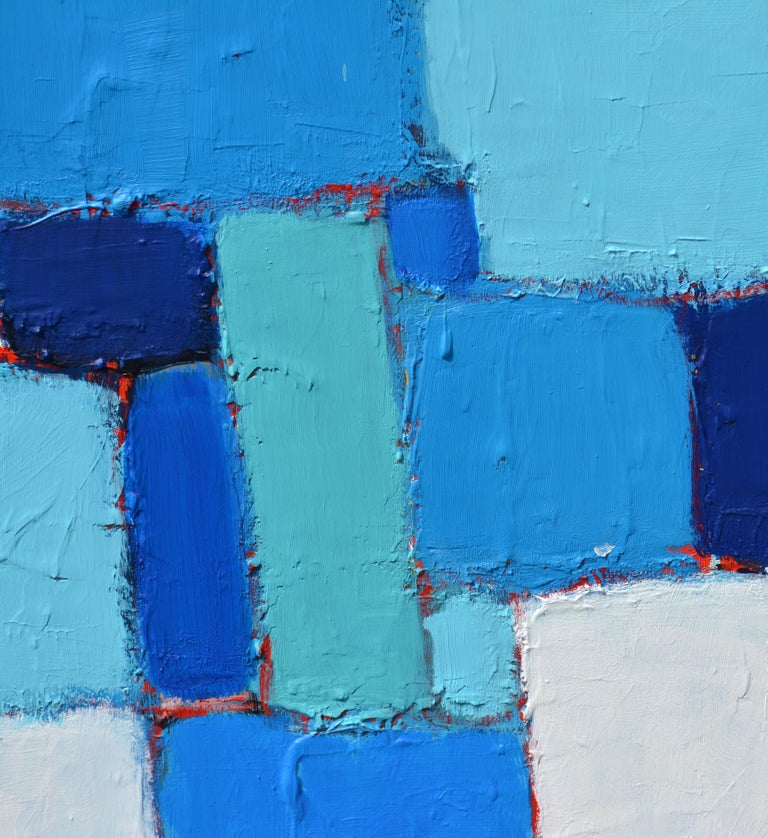 Painted 'Composition in Blue and Aqua' Original Abstract Painting by Lars Hegelund' For Sale