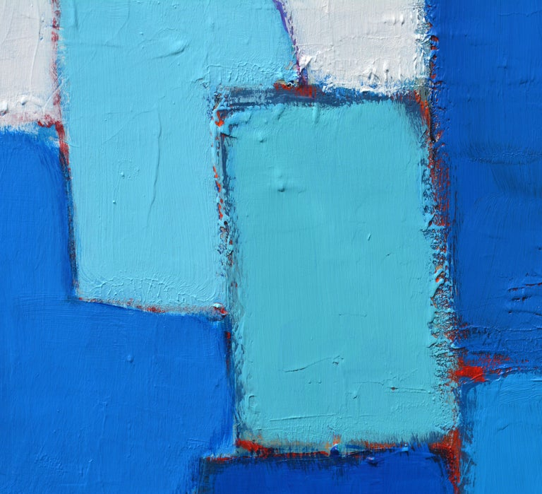 'Composition in Blue and Aqua' Original Abstract Painting by Lars Hegelund' In Good Condition For Sale In Ft. Lauderdale, FL