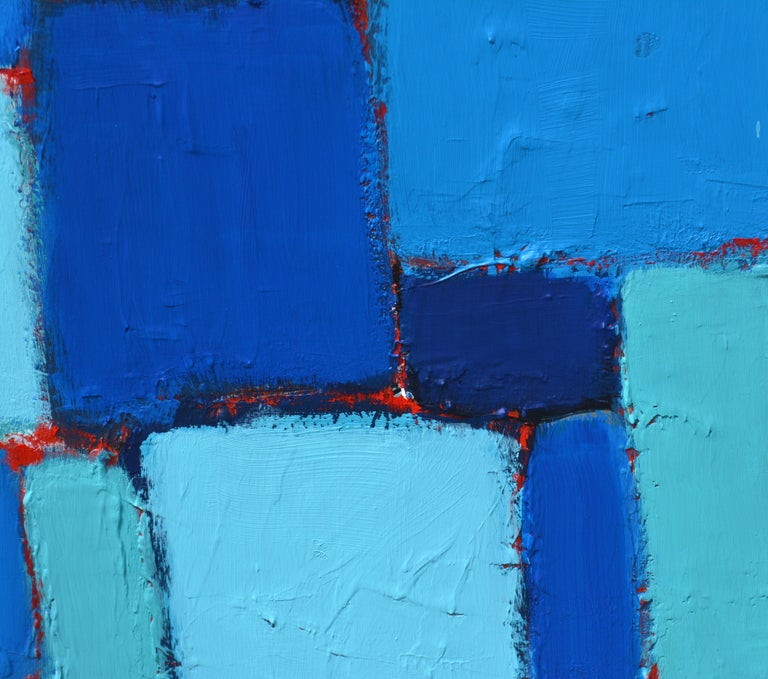 Contemporary 'Composition in Blue and Aqua' Original Abstract Painting by Lars Hegelund' For Sale