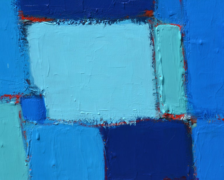 Aluminum 'Composition in Blue and Aqua' Original Abstract Painting by Lars Hegelund' For Sale