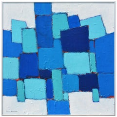 'Composition in Blue and Aqua' Original Abstract Painting by Lars Hegelund'