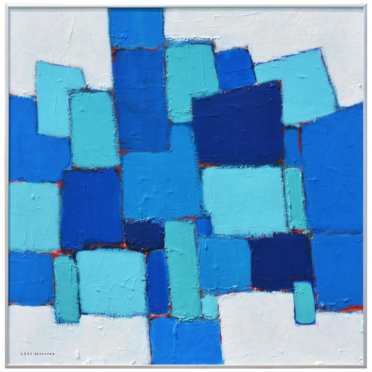 'Composition in Blue and Aqua' Original Abstract Painting by Lars Hegelund' For Sale