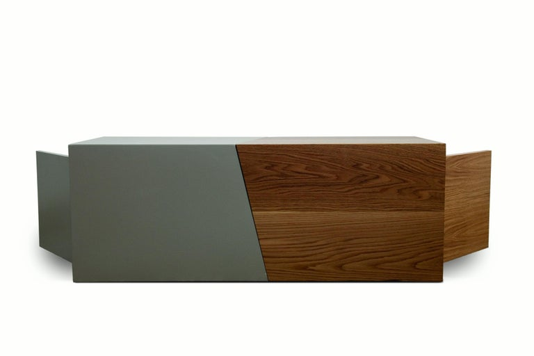 21st Century, Minimalist, European, Coffee table in Lacquer and Oakwood Handmade In Excellent Condition For Sale In Tinos, Cyclades