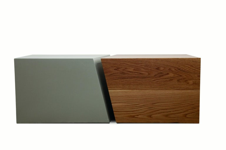Contemporary 21st Century, Minimalist, European, Coffee table in Lacquer and Oakwood Handmade For Sale