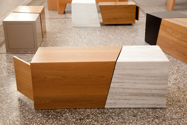Composition in White Tinian Marble and Wood In Excellent Condition For Sale In Tinos, Cyclades