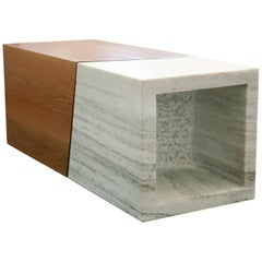 21st Century, Minimalist, European, Coffee Table, White Greek Marble and Oakwood