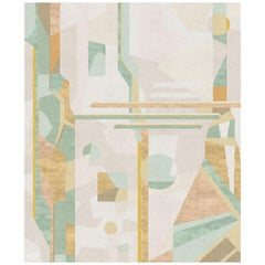 Composition IV - Green Beige Modern Hand Knotted Wool Silk Rug