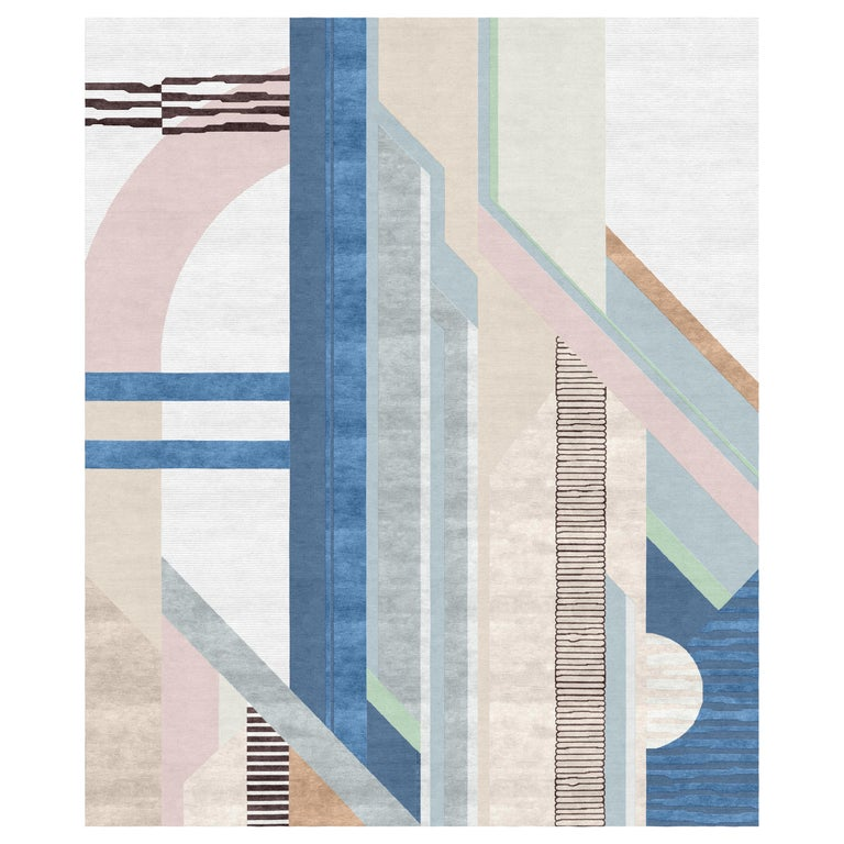 Composition VIII - Blue Pink Beige Hand Knotted Wool Silk Rug For Sale