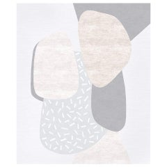 Composition X.II - Grey Contemporary Hand Knotted Wool Silk Rug