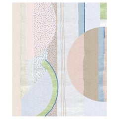 Composition XI.II - Green Pink Blue Hand Knotted Wool Silk Rug