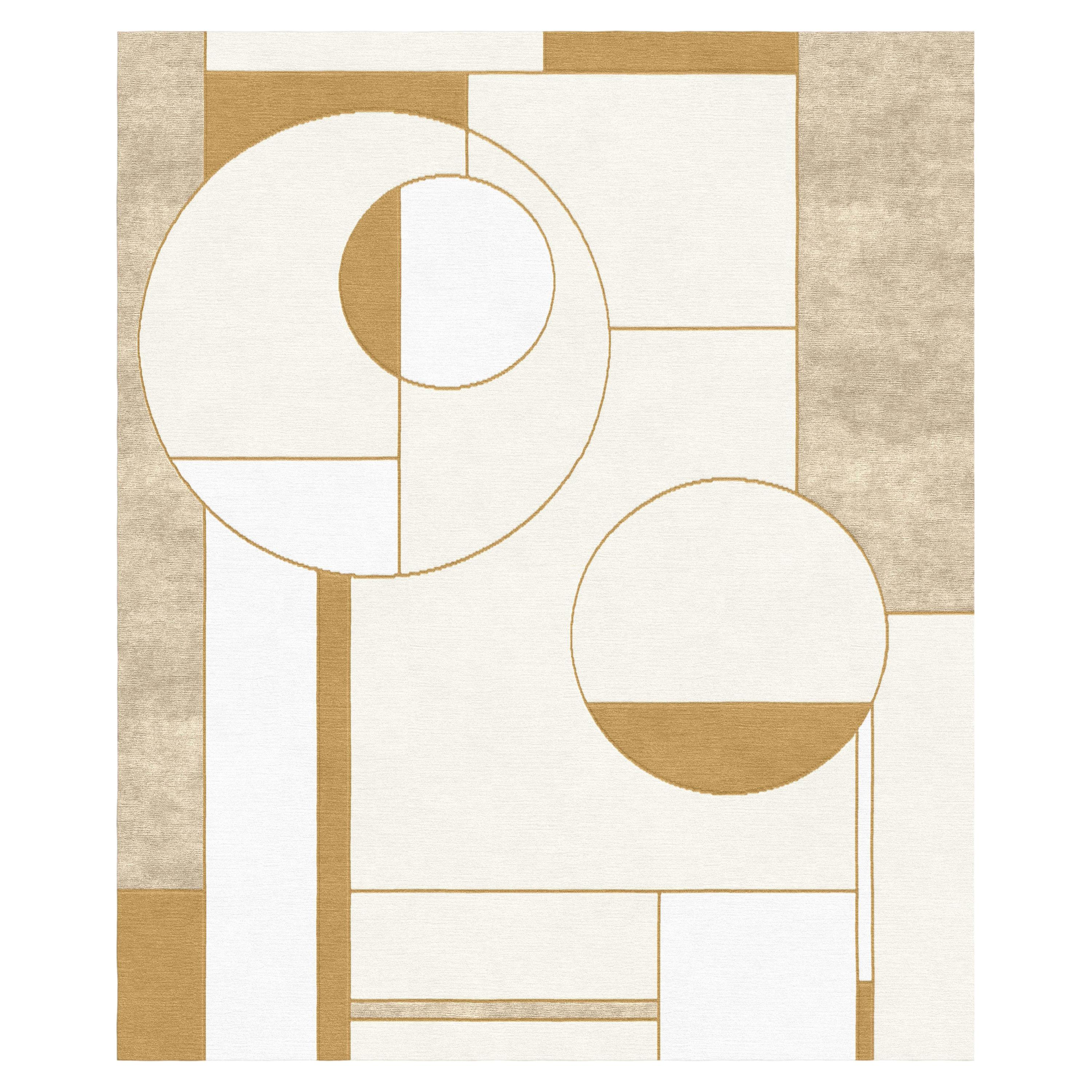 Composition XIV.I - Beige Geometric Hand Knotted Wool Silk Rug