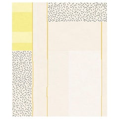Composition XIX - Yellow Designer Hand Knotted Wool Silk Rug