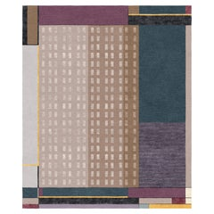 Composition XVII - Purple Patterned Hand Knotted Wool Silk Rug