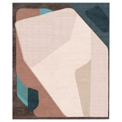 Composition XV.III - Geometric Multicolor Hand Knotted Wool Silk Rug