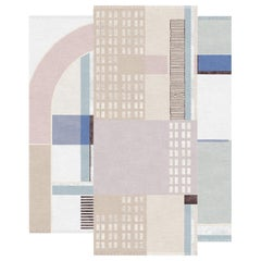 Composition XVIII - Pink Beige Luxury Hand Knotted Wool Silk Rug