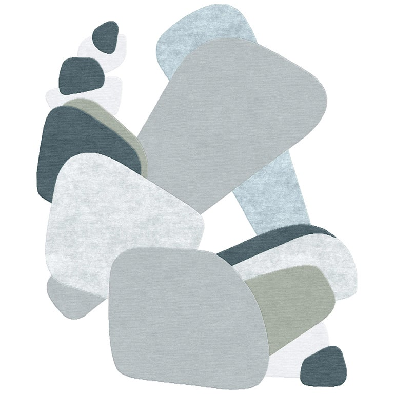 Composition XXI - Interesting Design Hand Knotted Wool Silk Rug For Sale